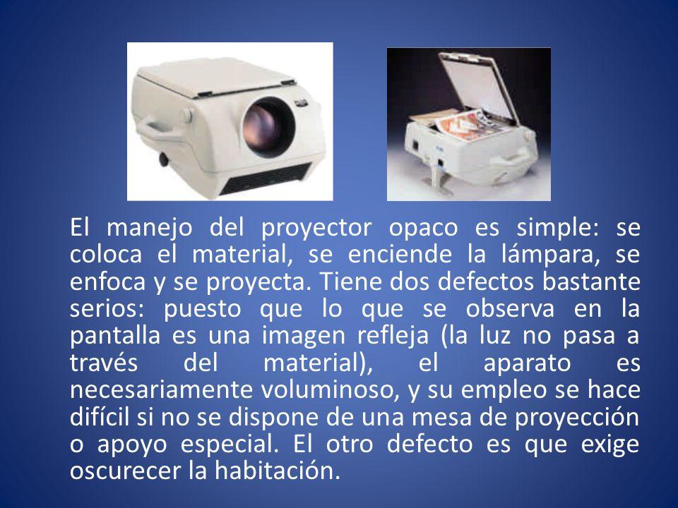 El manejo del proyector opaco es simple: se coloca el material, se enciende la lámpara, se enfoca y se proyecta. Tiene dos defectos bastante serios: p