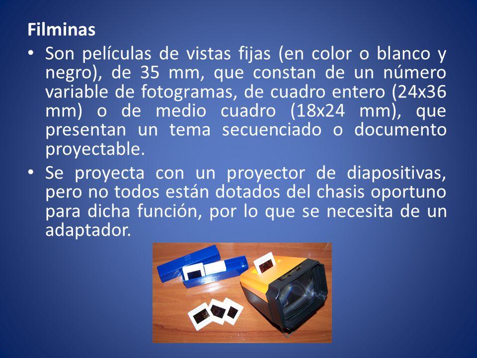 Filminas Son películas de vistas fijas (en color o blanco y negro), de 35 mm, que constan de un número variable de fotogramas, de cuadro entero (24x36
