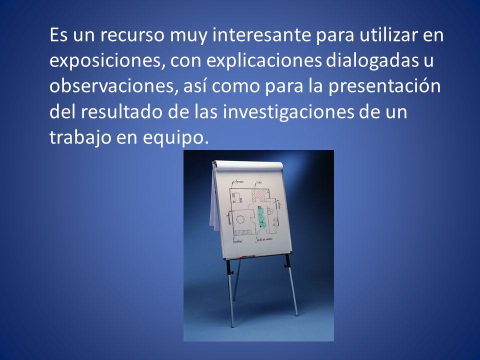 Es un recurso muy interesante para utilizar en exposiciones, con explicaciones dialogadas u observaciones, así como para la presentación del resultado