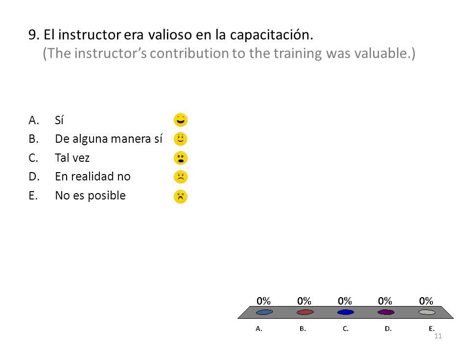 9.El instructor era valioso en la capacitación.