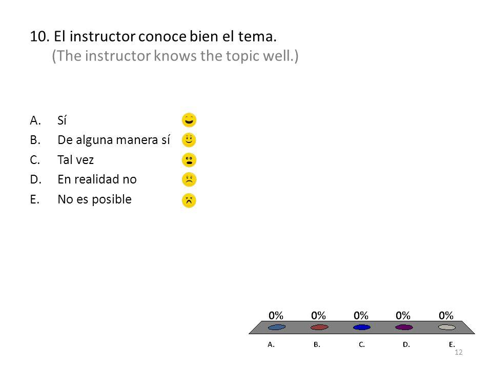 10. El instructor conoce bien el tema.