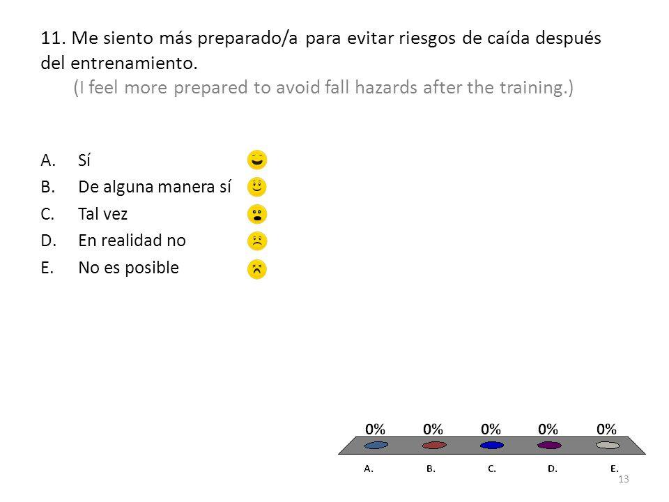 11. Me siento más preparado/a para evitar riesgos de caída después del entrenamiento.