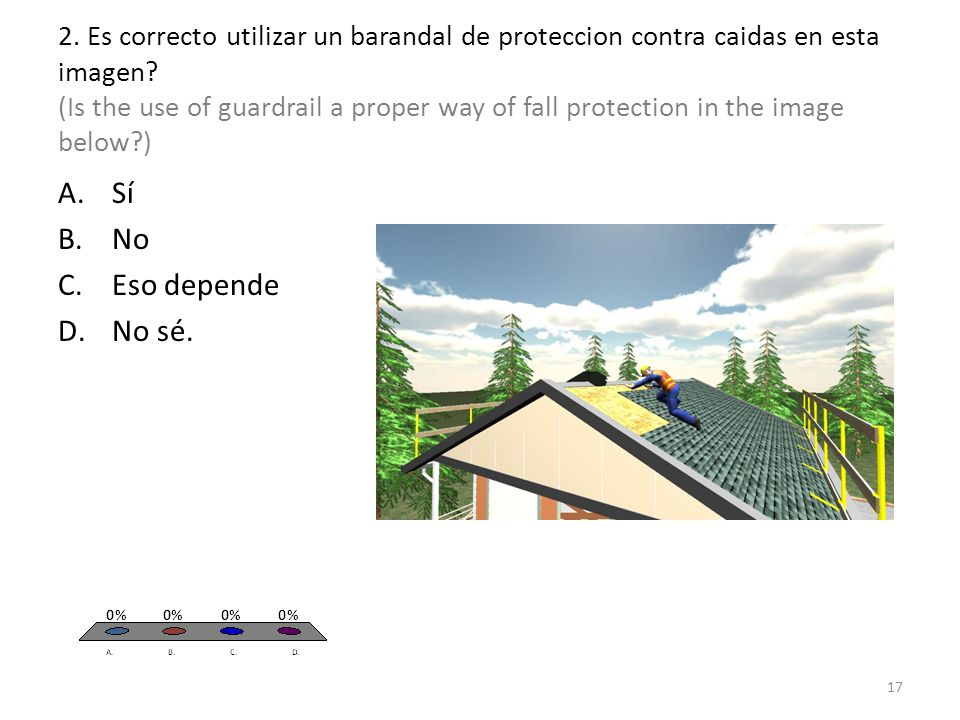 2. Es correcto utilizar un barandal de proteccion contra caidas en esta imagen.