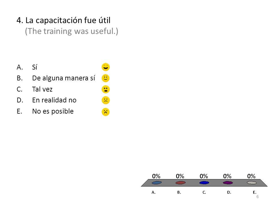4. La capacitación fue útil (The training was useful.) A.Sí B.De alguna manera sí C.Tal vez D.En realidad no E.No es posible 6