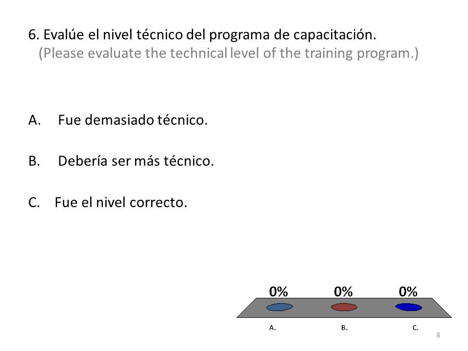 6. Evalúe el nivel técnico del programa de capacitación.
