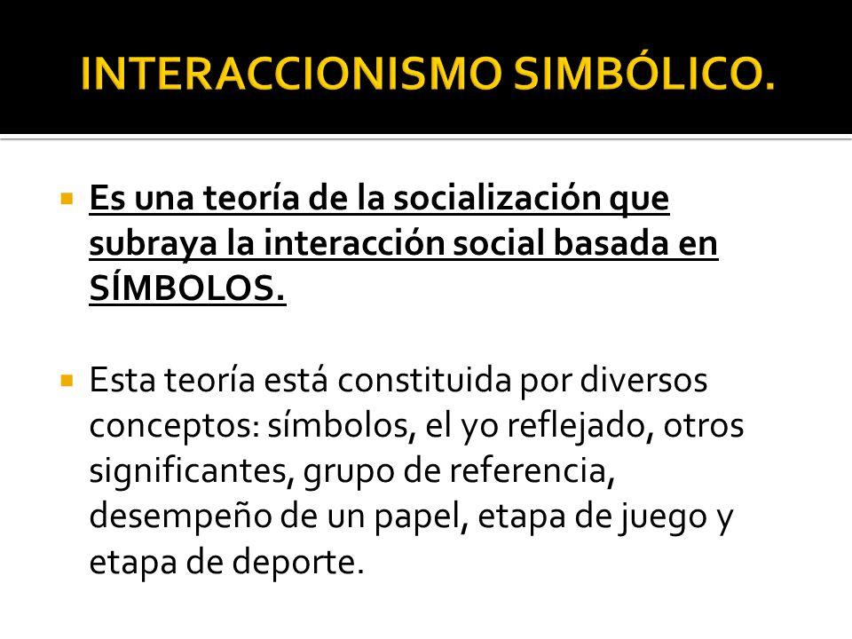 Es una teoría de la socialización que subraya la interacción social basada en SÍMBOLOS. Esta teoría está constituida por diversos conceptos: símbolos,