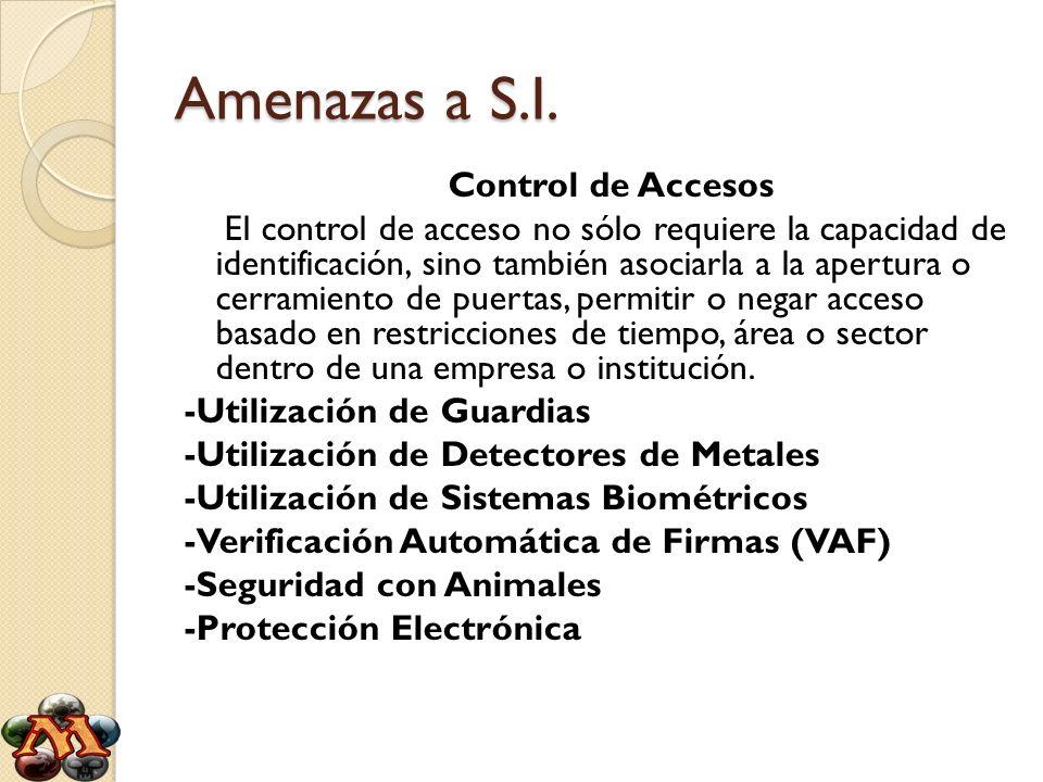 Amenazas a S.I. Control de Accesos El control de acceso no sólo requiere la capacidad de identificación, sino también asociarla a la apertura o cerram