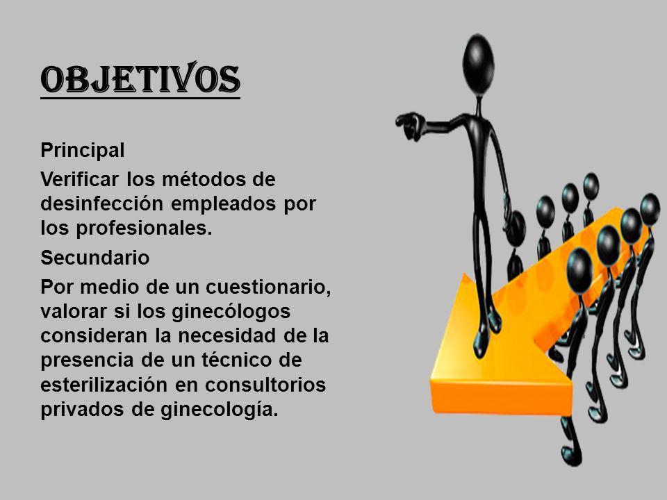 OBJETIVOS Principal Verificar los métodos de desinfección empleados por los profesionales.