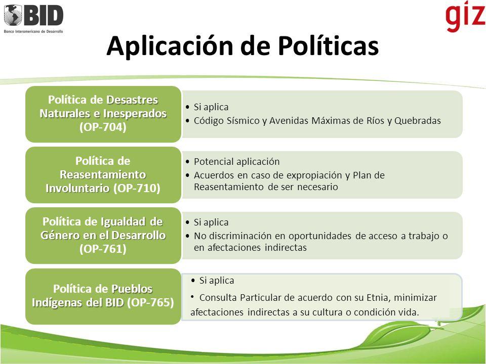 Aplicación de Políticas Si aplica Código Sísmico y Avenidas Máximas de Ríos y Quebradas Desastres Naturales e Inesperados Política de Desastres Natura