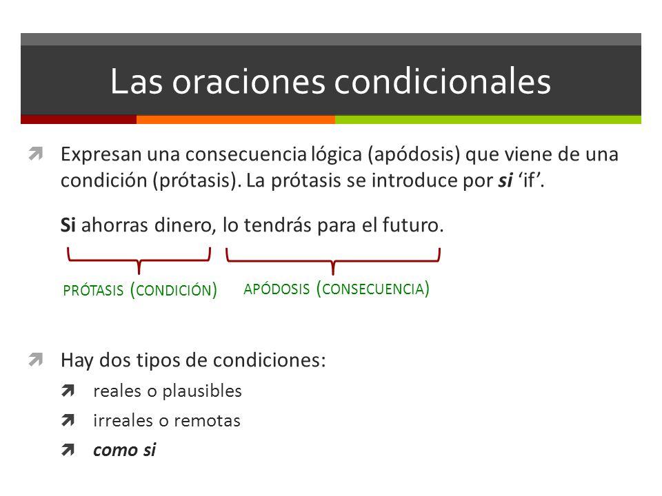 Las oraciones condicionales Expresan una consecuencia lógica (apódosis) que viene de una condición (prótasis). La prótasis se introduce por si if. Si