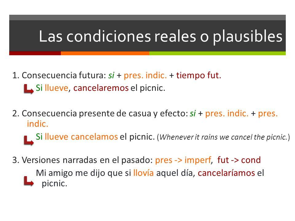 Las condiciones reales o plausibles 1. Consecuencia futura: si + pres. indic. + tiempo fut. Si llueve, cancelaremos el picnic. 2. Consecuencia present