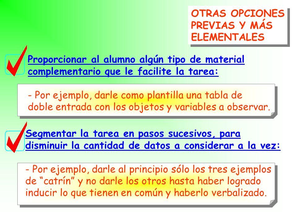 OTRAS OPCIONES PREVIAS Y MÁS ELEMENTALES OTRAS OPCIONES PREVIAS Y MÁS ELEMENTALES Mediación verbal de la actividad del alumno durante la resolución de