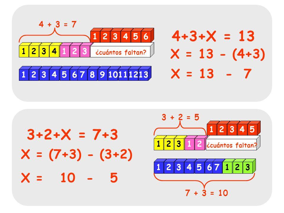 123456789101112 12345 ¿Cuántos sobran? 1 12 - 5 = ? - 5 = 7 El problema....: La solución.....: X X X X X X X 1234567