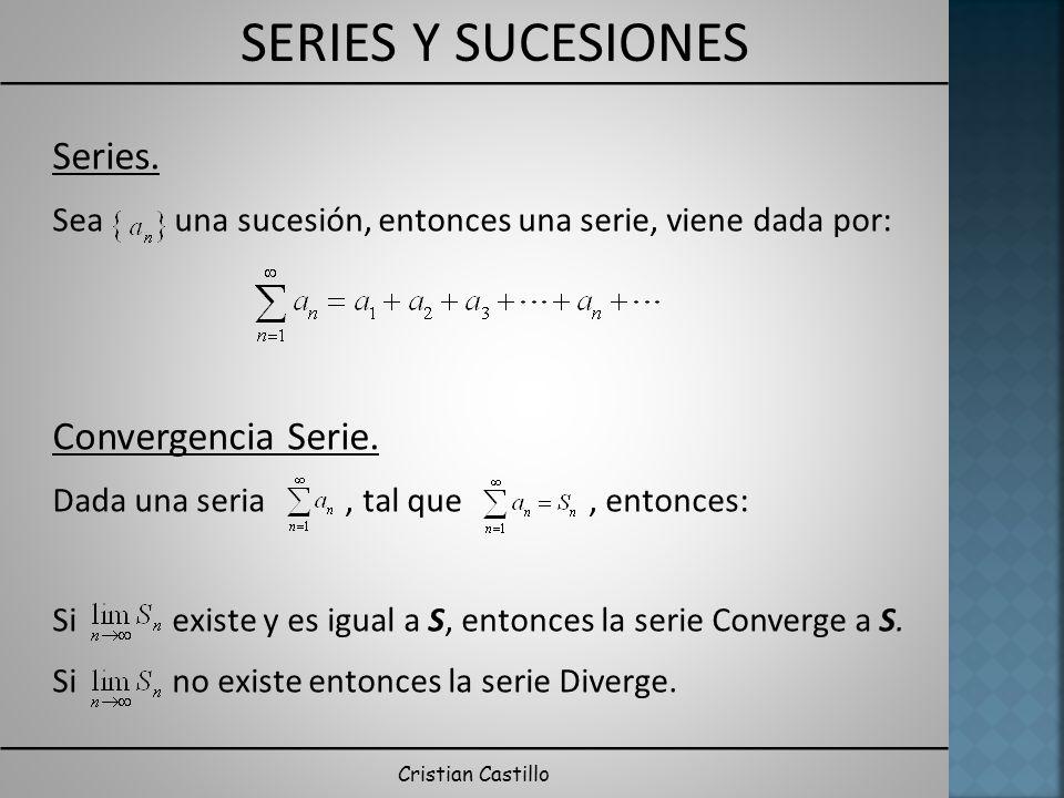 SERIES Y SUCESIONES Cristian Castillo Series. Sea una sucesión, entonces una serie, viene dada por: Convergencia Serie. Dada una seria, tal que, enton