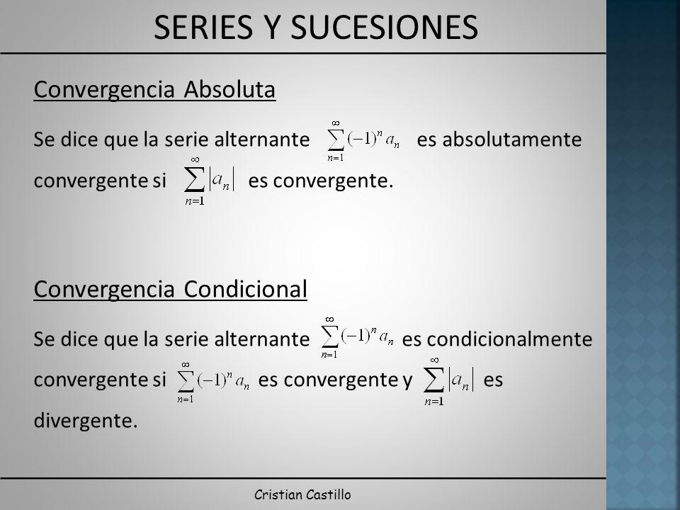 SERIES Y SUCESIONES Cristian Castillo Convergencia Absoluta Se dice que la serie alternante es absolutamente convergente si es convergente. Convergenc