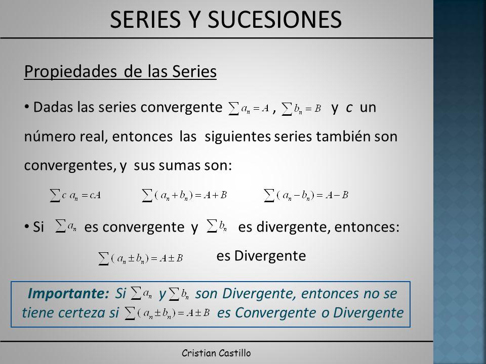 SERIES Y SUCESIONES Cristian Castillo Propiedades de las Series Dadas las series convergente, y c un número real, entonces las siguientes series también son convergentes, y sus sumas son: Si es convergente y es divergente, entonces: es Divergente Importante: Si y son Divergente, entonces no se tiene certeza si es Convergente o Divergente