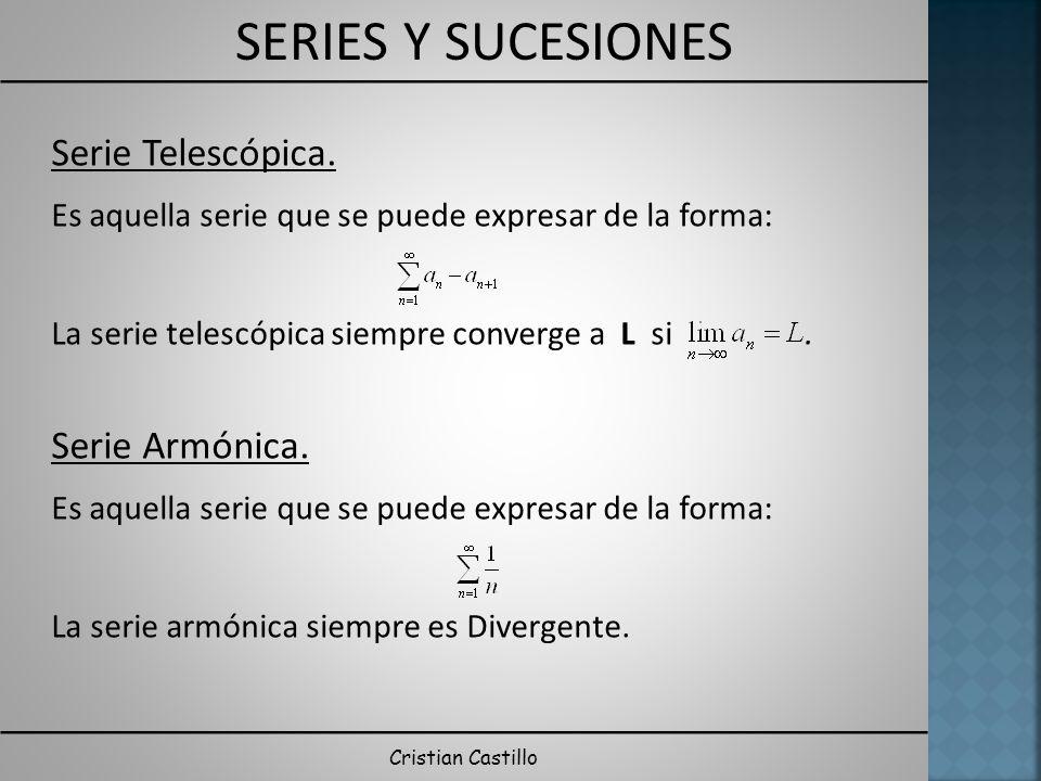 SERIES Y SUCESIONES Cristian Castillo Serie Telescópica. Es aquella serie que se puede expresar de la forma: La serie telescópica siempre converge a L
