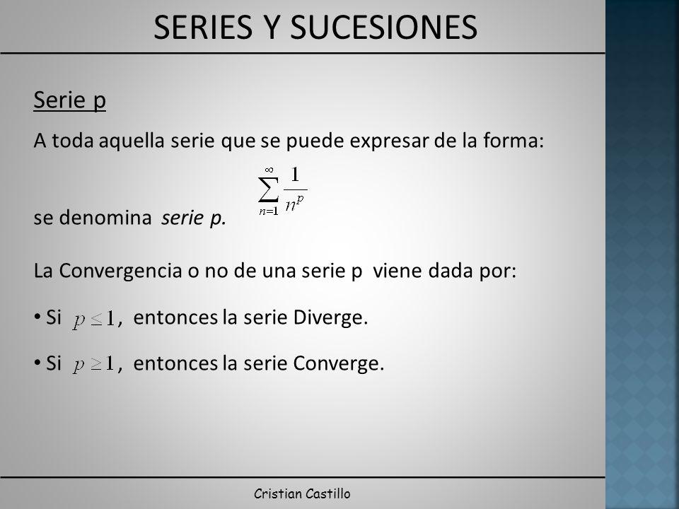 SERIES Y SUCESIONES Cristian Castillo Serie p A toda aquella serie que se puede expresar de la forma: se denomina serie p. La Convergencia o no de una
