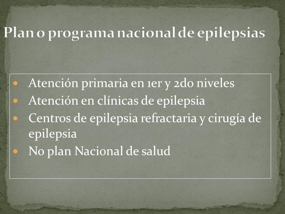 Atención primaria en 1er y 2do niveles Atención en clínicas de epilepsia Centros de epilepsia refractaria y cirugía de epilepsia No plan Nacional de salud