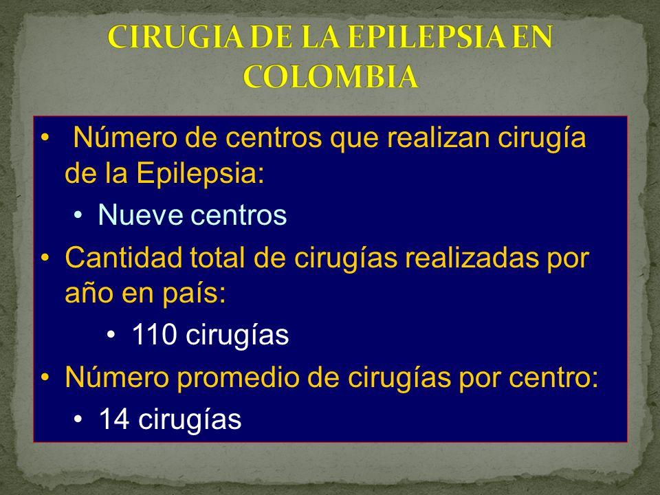 Número de centros que realizan cirugía de la Epilepsia: Nueve centros Cantidad total de cirugías realizadas por año en país: 110 cirugías Número promedio de cirugías por centro: 14 cirugías
