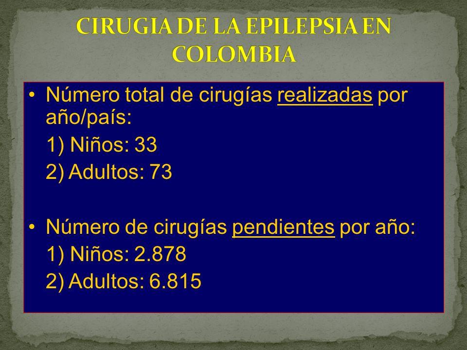 Número total de cirugías realizadas por año/país: 1) Niños: 33 2) Adultos: 73 Número de cirugías pendientes por año: 1) Niños: 2.878 2) Adultos: 6.815
