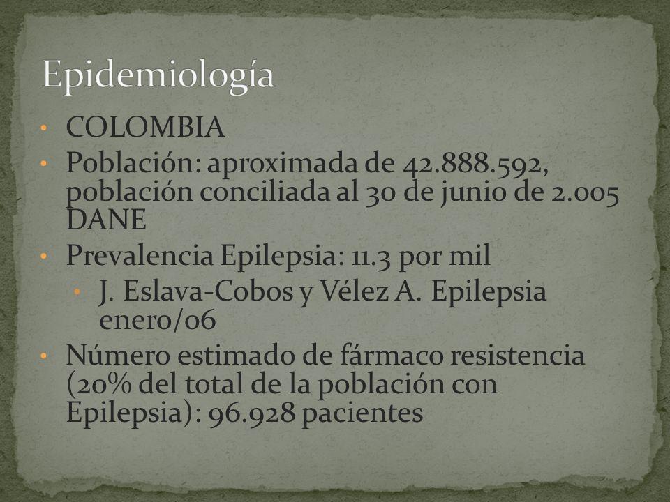COLOMBIA Población: aproximada de 42.888.592, población conciliada al 30 de junio de 2.005 DANE Prevalencia Epilepsia: 11.3 por mil J.