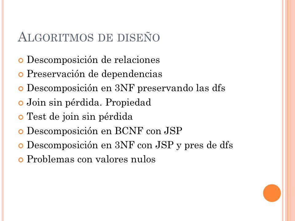 A LGORITMOS DE DISEÑO Descomposición de relaciones Preservación de dependencias Descomposición en 3NF preservando las dfs Join sin pérdida. Propiedad