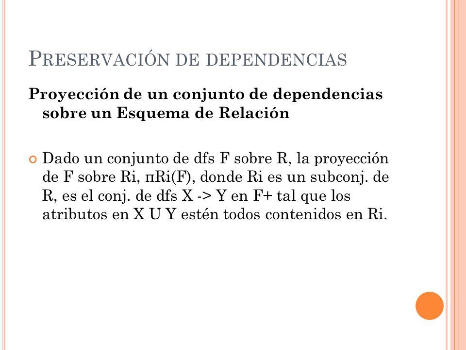 P RESERVACIÓN DE DEPENDENCIAS Proyección de un conjunto de dependencias sobre un Esquema de Relación Dado un conjunto de dfs F sobre R, la proyección