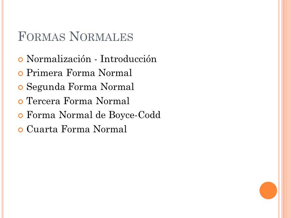 F ORMAS N ORMALES Normalización - Introducción Primera Forma Normal Segunda Forma Normal Tercera Forma Normal Forma Normal de Boyce-Codd Cuarta Forma