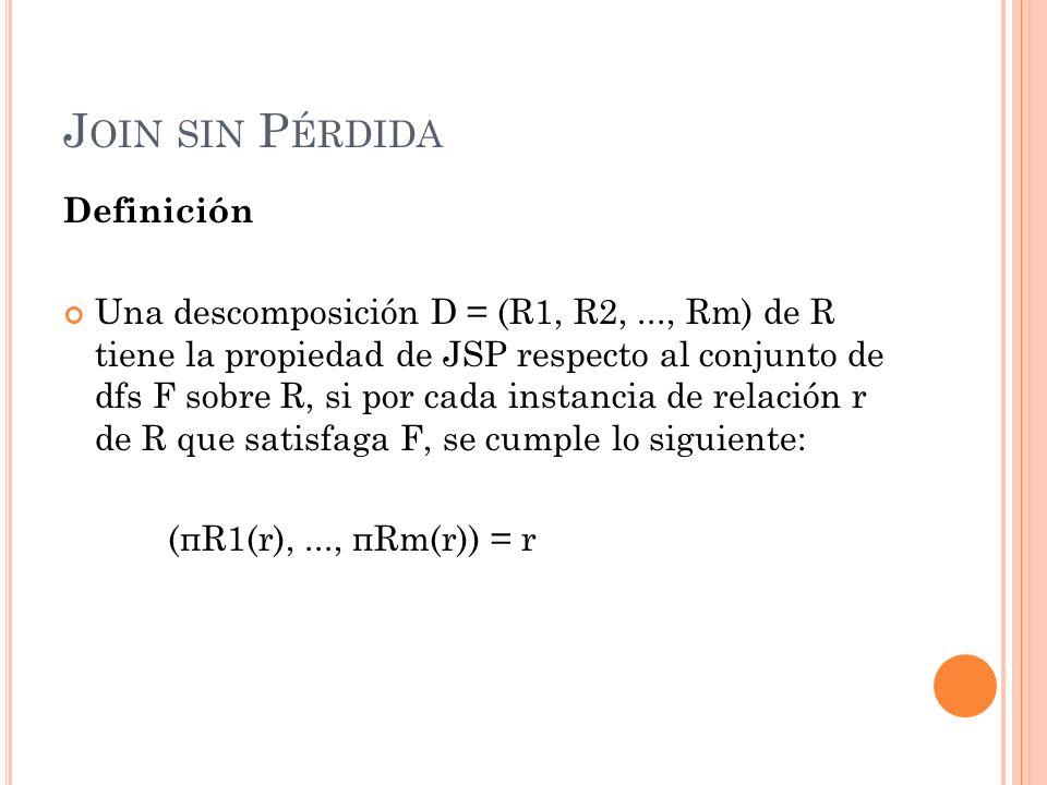 J OIN SIN P ÉRDIDA Definición Una descomposición D = (R1, R2,..., Rm) de R tiene la propiedad de JSP respecto al conjunto de dfs F sobre R, si por cad