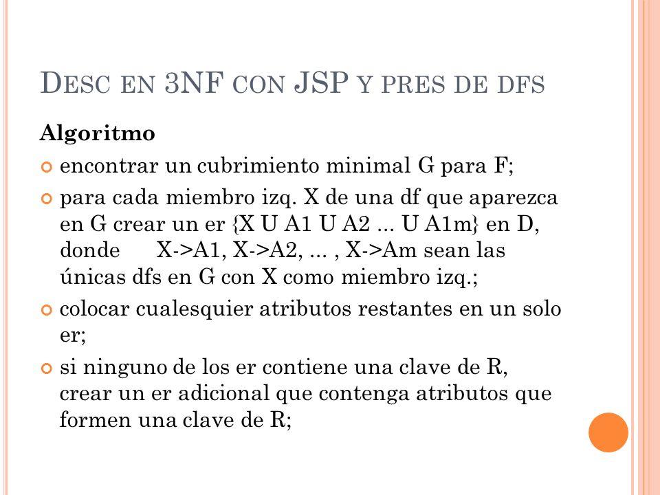D ESC EN 3NF CON JSP Y PRES DE DFS Algoritmo encontrar un cubrimiento minimal G para F; para cada miembro izq. X de una df que aparezca en G crear un