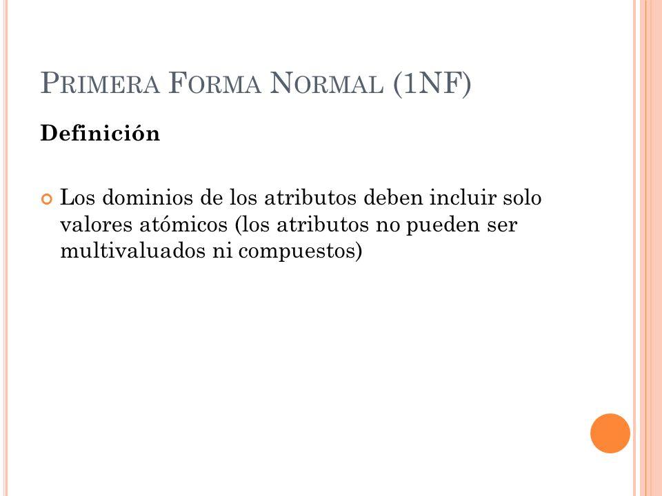 P RIMERA F ORMA N ORMAL (1NF) Definición Los dominios de los atributos deben incluir solo valores atómicos (los atributos no pueden ser multivaluados