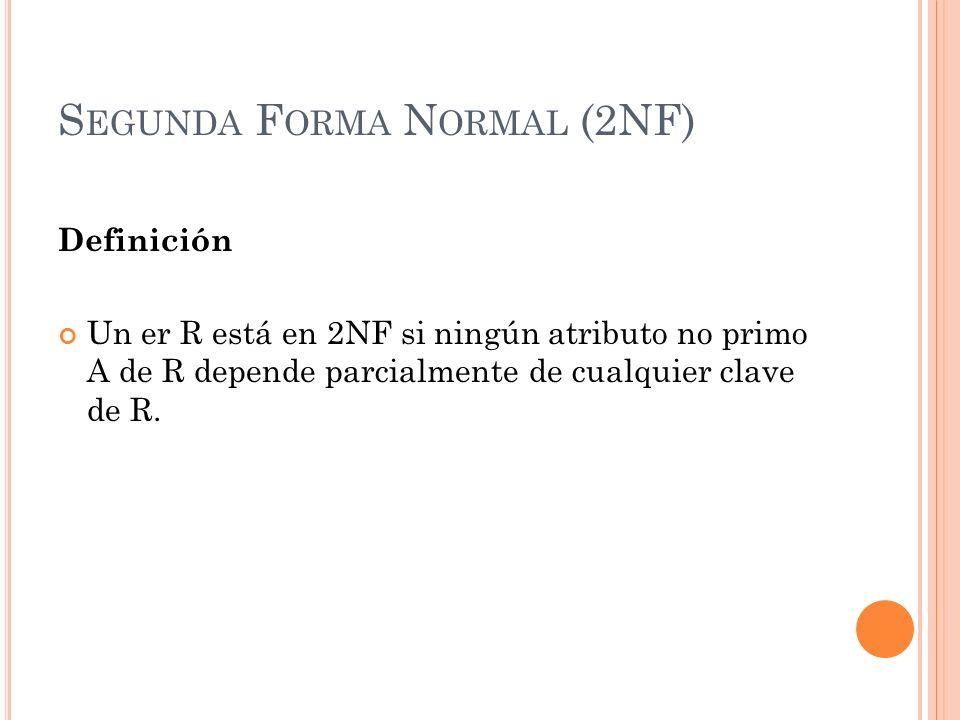 S EGUNDA F ORMA N ORMAL (2NF) Definición Un er R está en 2NF si ningún atributo no primo A de R depende parcialmente de cualquier clave de R.