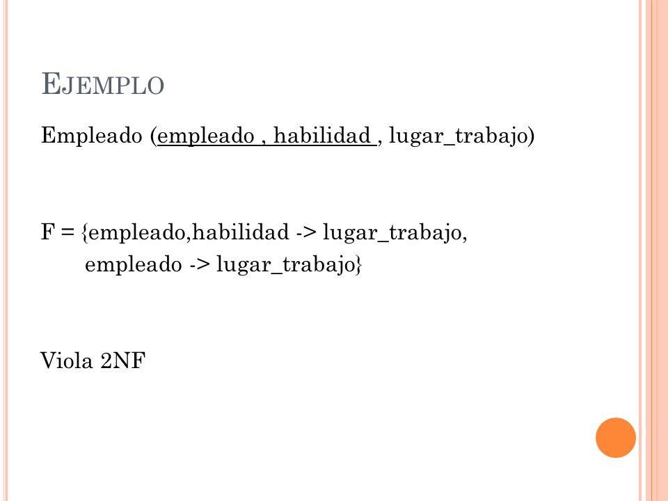 E JEMPLO Empleado (empleado, habilidad, lugar_trabajo) F = {empleado,habilidad -> lugar_trabajo, empleado -> lugar_trabajo} Viola 2NF