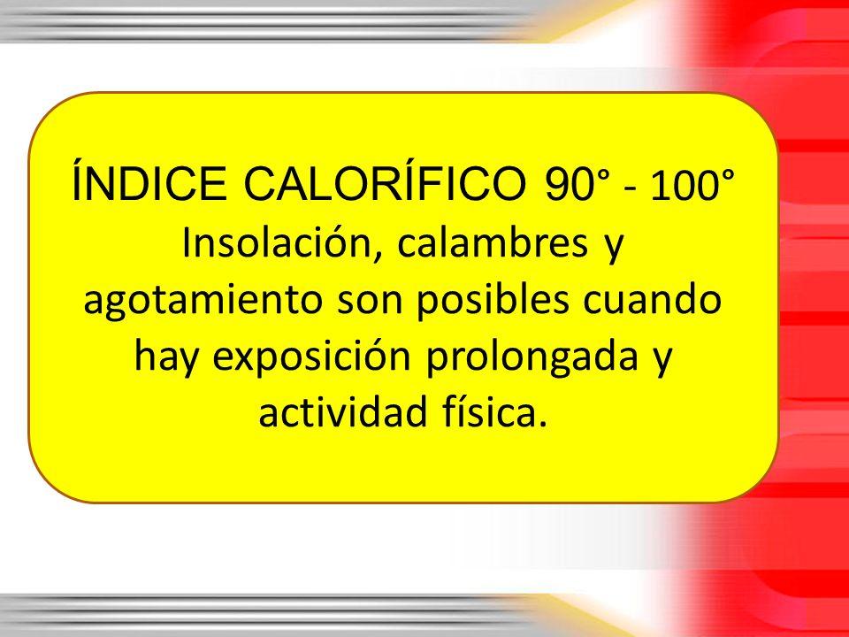 ÍNDICE CALORÍFICO 90 ° - 100° Insolación, calambres y agotamiento son posibles cuando hay exposición prolongada y actividad física.