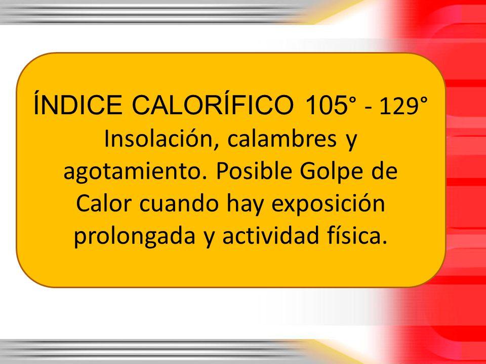ÍNDICE CALORÍFICO 105 ° - 129° Insolación, calambres y agotamiento. Posible Golpe de Calor cuando hay exposición prolongada y actividad física.