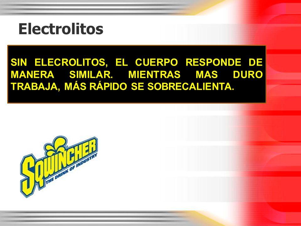 Electrolitos SIN ELECROLITOS, EL CUERPO RESPONDE DE MANERA SIMILAR. MIENTRAS MAS DURO TRABAJA, MÁS RÁPIDO SE SOBRECALIENTA.