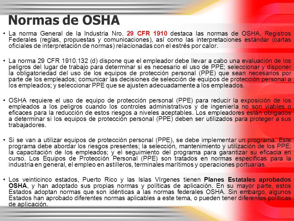 Normas de OSHA La norma General de la Industria Nro. 29 CFR 1910 destaca las normas de OSHA, Registros Federales (reglas, propuestas y comunicaciones)