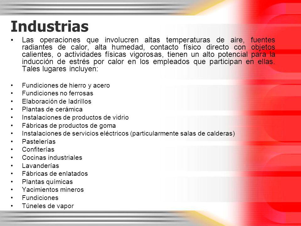 Industrias Las operaciones que involucren altas temperaturas de aire, fuentes radiantes de calor, alta humedad, contacto físico directo con objetos ca