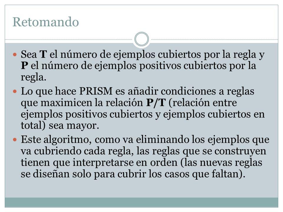 Retomando Sea T el número de ejemplos cubiertos por la regla y P el número de ejemplos positivos cubiertos por la regla. Lo que hace PRISM es añadir c