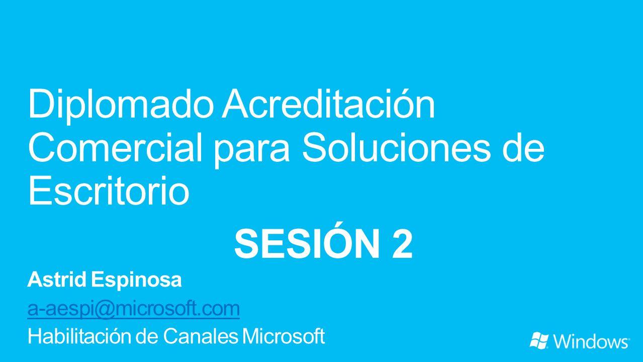 Sesión 1 Venta de Soluciones de escritorio con Office 2010 9 de Octubre Sesión 2 Venta de soluciones de escritorio con Windows 7 16 de Octubre Sesión 3 Complementando la oferta de escritorio: Office 365 y Windows Intune para Pymes 23 de Octubre Sesión 4 Examen de acreditación comercial para soluciones de escritorio 30 de Octubre