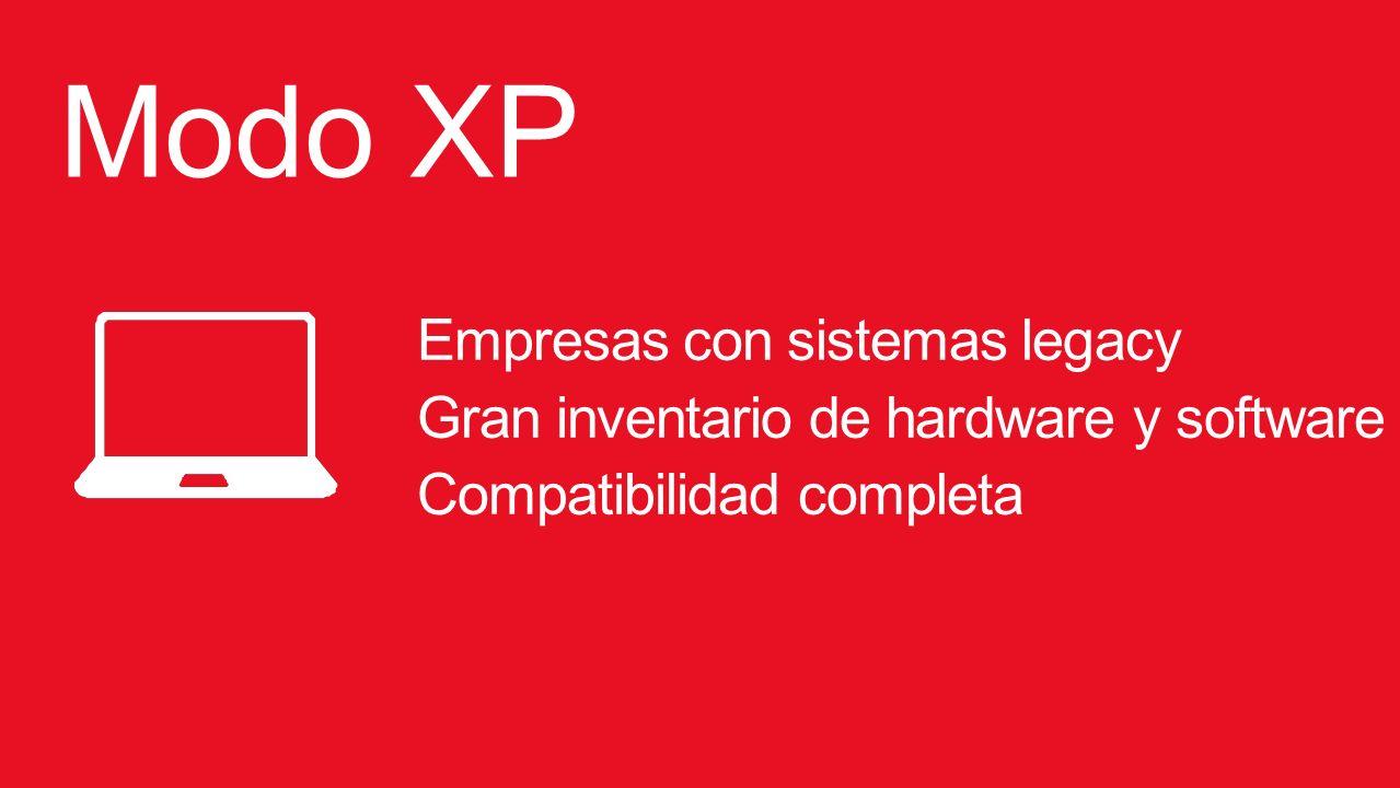 Modo XP Empresas con sistemas legacy Gran inventario de hardware y software Compatibilidad completa