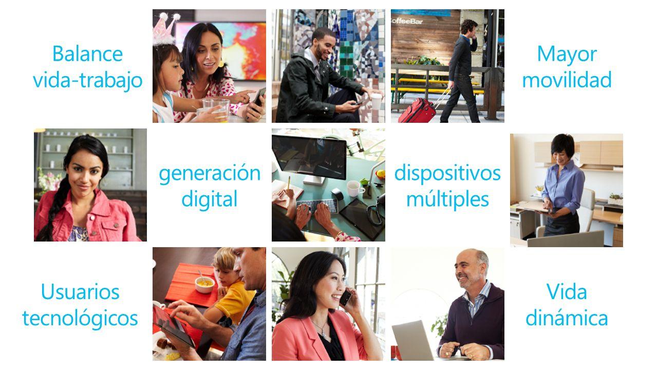 Balance vida-trabajo Mayor movilidad Usuarios tecnológicos dispositivos múltiples generación digital Vida dinámica