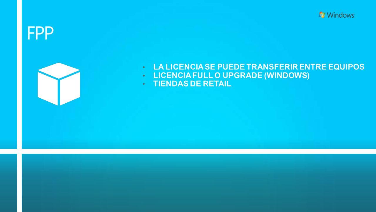 FPP LA LICENCIA SE PUEDE TRANSFERIR ENTRE EQUIPOS LICENCIA FULL O UPGRADE (WINDOWS) TIENDAS DE RETAIL