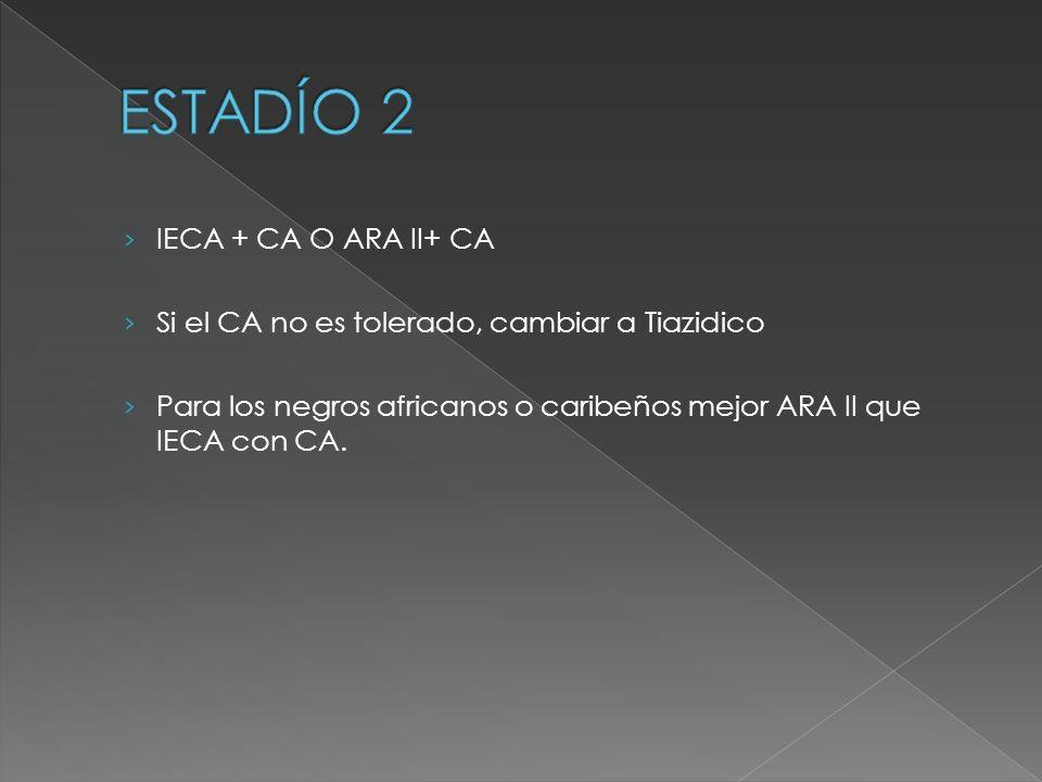 IECA + CA O ARA II+ CA Si el CA no es tolerado, cambiar a Tiazidico Para los negros africanos o caribeños mejor ARA II que IECA con CA.