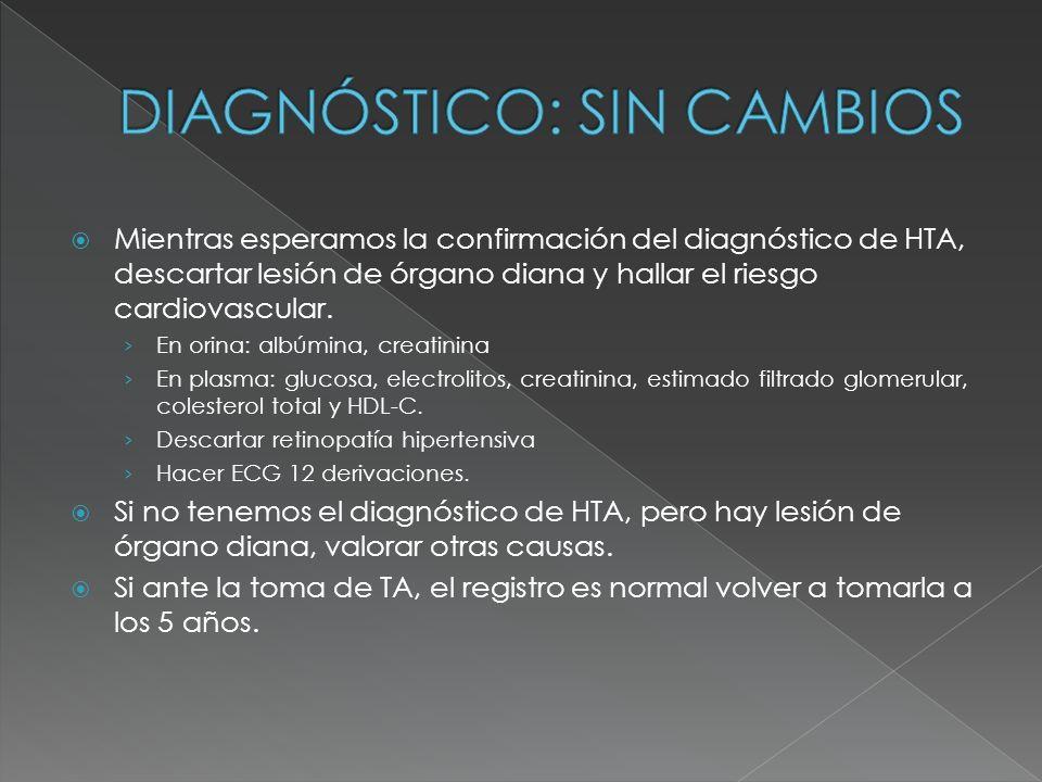 Mientras esperamos la confirmación del diagnóstico de HTA, descartar lesión de órgano diana y hallar el riesgo cardiovascular.