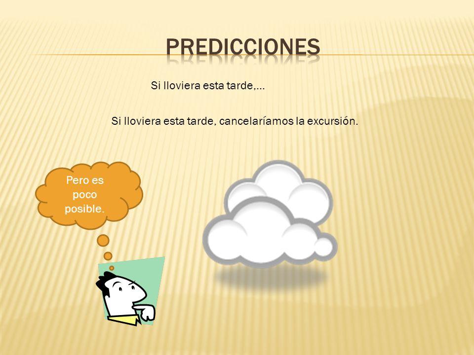 Si lloviera esta tarde,… Si lloviera esta tarde, cancelaríamos la excursión. Pero es poco posible.