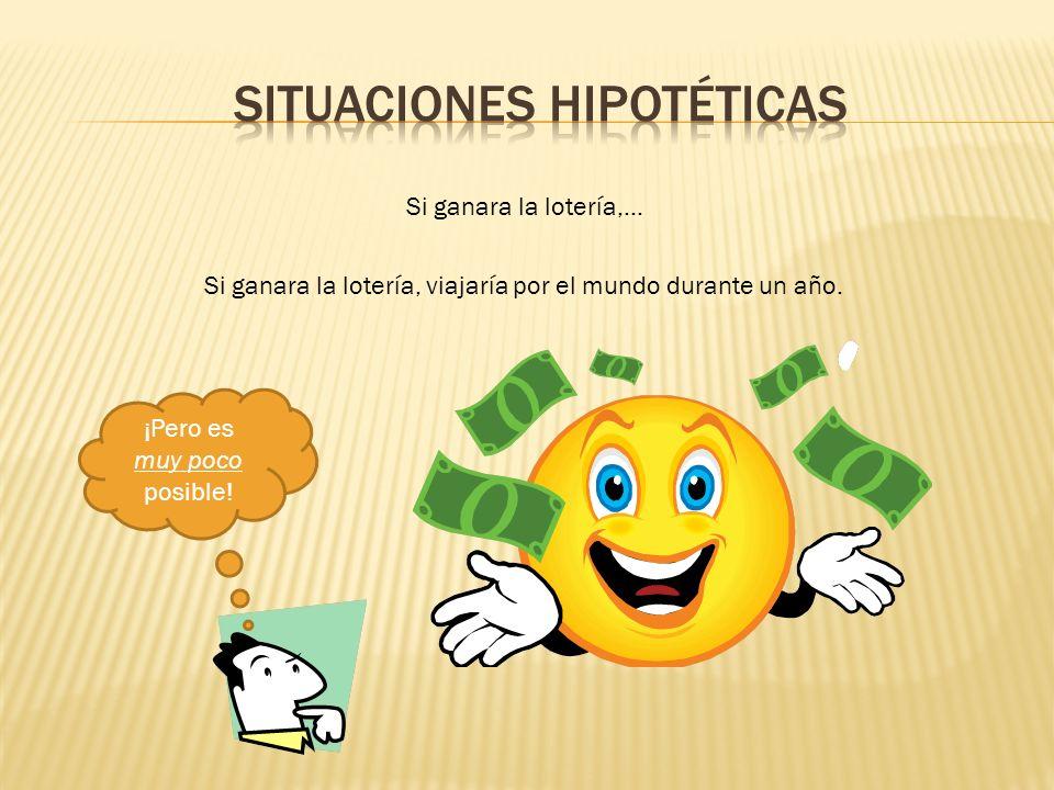 Si ganara la lotería,… Si ganara la lotería, viajaría por el mundo durante un año. ¡Pero es muy poco posible!