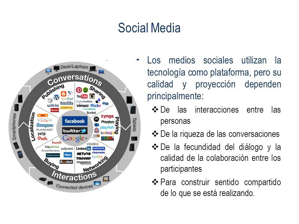 Social Media Los medios sociales utilizan la tecnología como plataforma, pero su calidad y proyección dependen principalmente: De las interacciones en
