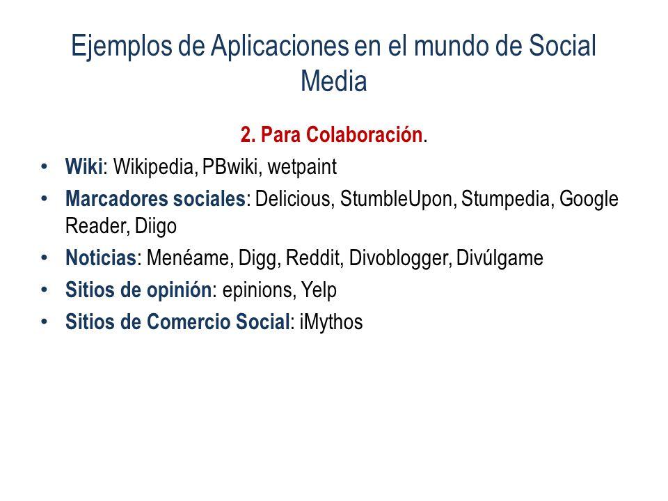 Ejemplos de Aplicaciones en el mundo de Social Media 2. Para Colaboración. Wiki : Wikipedia, PBwiki, wetpaint Marcadores sociales : Delicious, Stumble